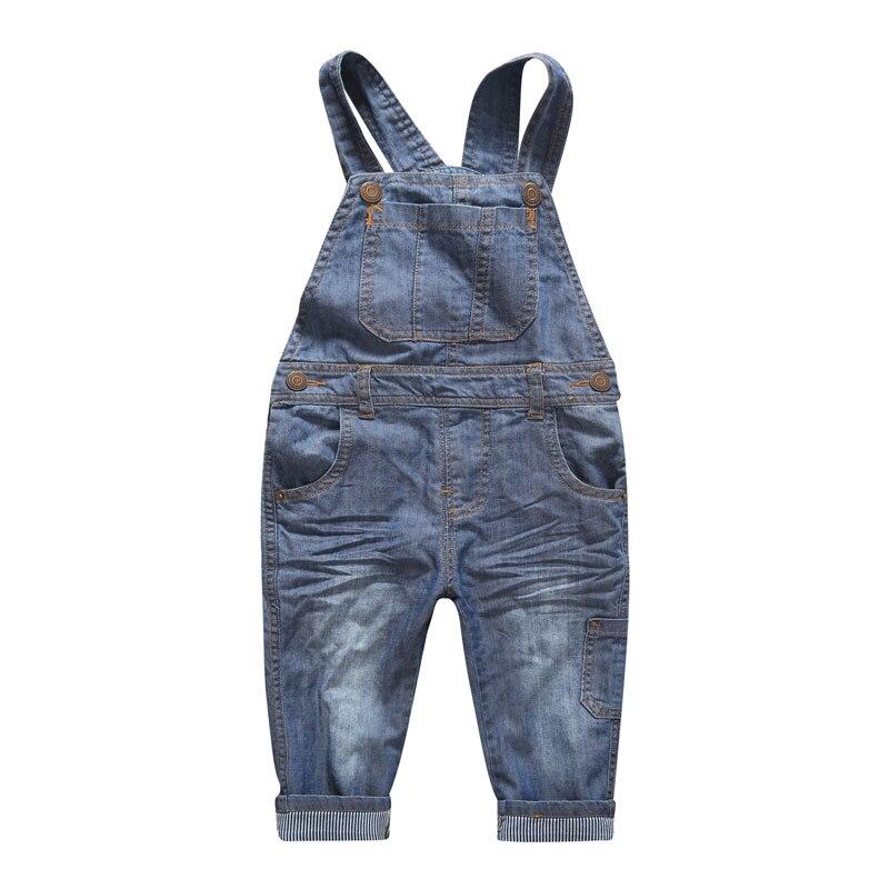 New Arrival Baby Boys Girls Spring&Autumn Solid Denim Jumpsuits Cute Kids Hemming Overalls Children Brand Jeans Pants Infantil