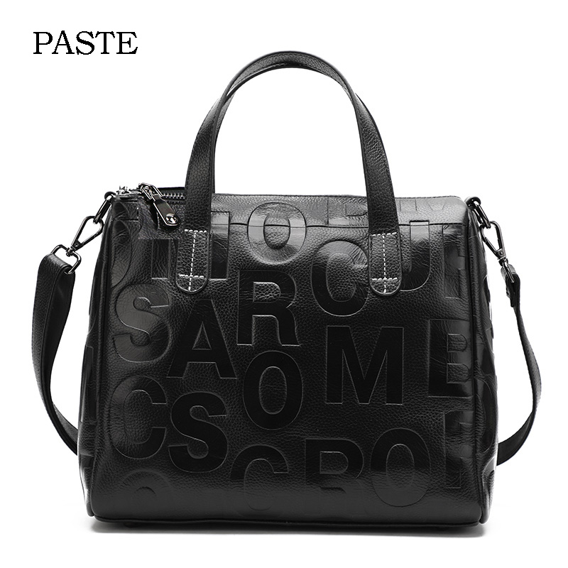 2018 Individual Design Embossed Letter Fashion Women Handbag Leather Ladies Messenger Shoulder Bag OL Business Tote Bag