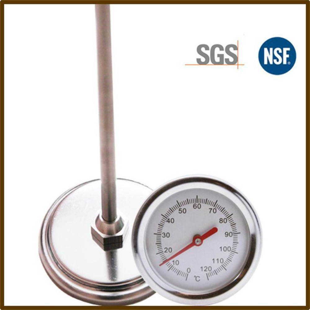 20 Inch 50cm Length 0-120 Degree Compost Soil Thermometer Premium Food Grade Stainless Steel Metal Measuring Probe Detector