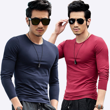 Qrxiaer Men Summer Autumn T shirt round neck Solid color black white long sleeve T-shirt trend casual young shirt