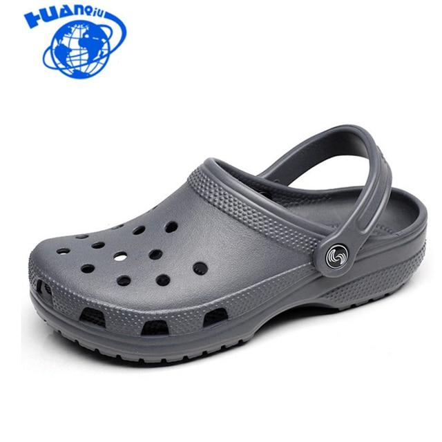 f4e1f8b41 HUANQIU 2018 Men Sandals Summer Slippers Shoes Croc fashion beach Sandals  Casual Flat Slip On Flip Flops Men Hollow Shoes ST263