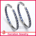Carraton ESQD2112 50mm Full Circle Color Genuine 925 Sterling Silver 5cm Zirconia Diamond Big Hoop Earrings