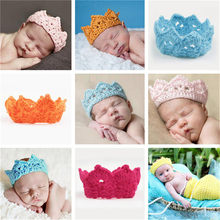 New Handmade Newborn Baby Girl Boy Crochet Knit Crown Hat Photography Prop Baby Photo Hats Caps Crochet Costume Soft Adorable(China)
