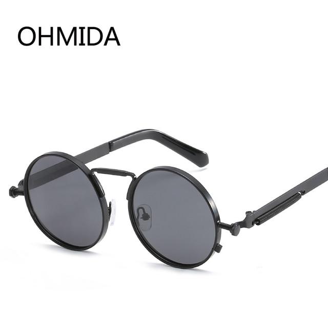 af8e45482c OHMIDA Round Steampunk Sunglasses Men Retro Polarized Sunglasses Women  Black Spring Leg Vintage Fashion Metal Sun