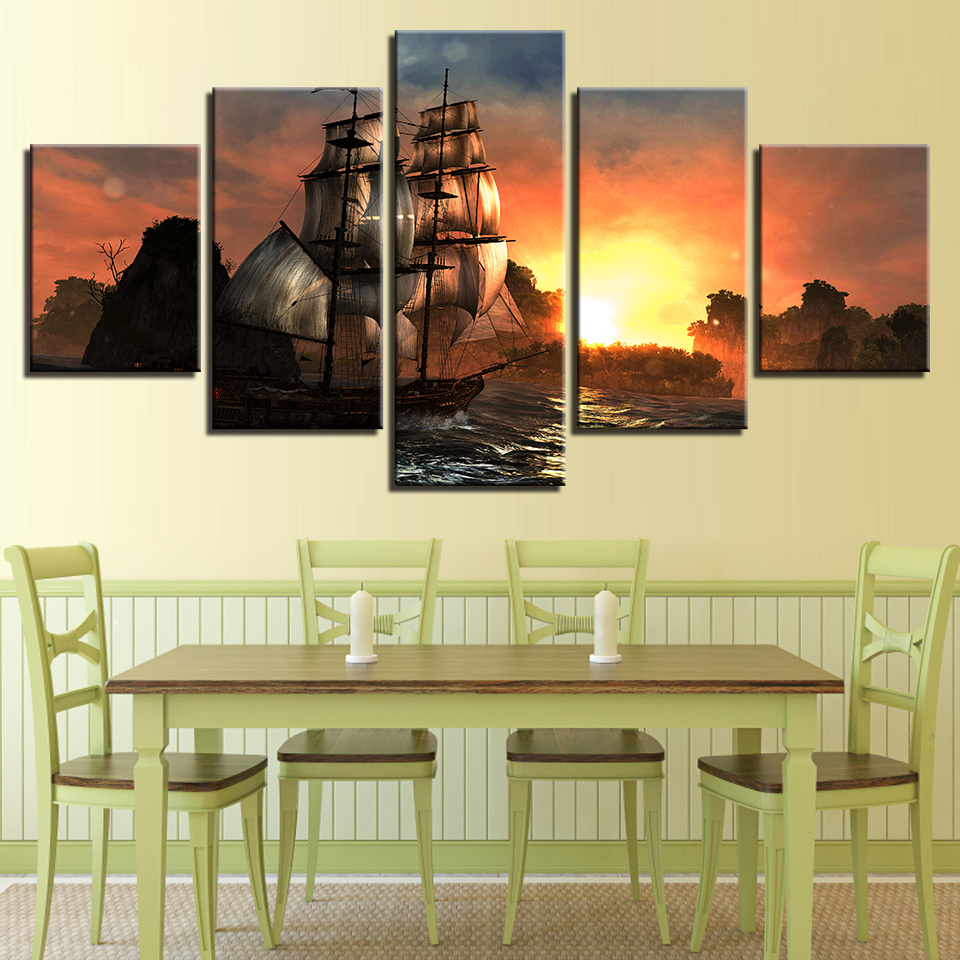 OKHOTCN Canvas Paintings Home Decor Framed HD Prints Posters 5 ...