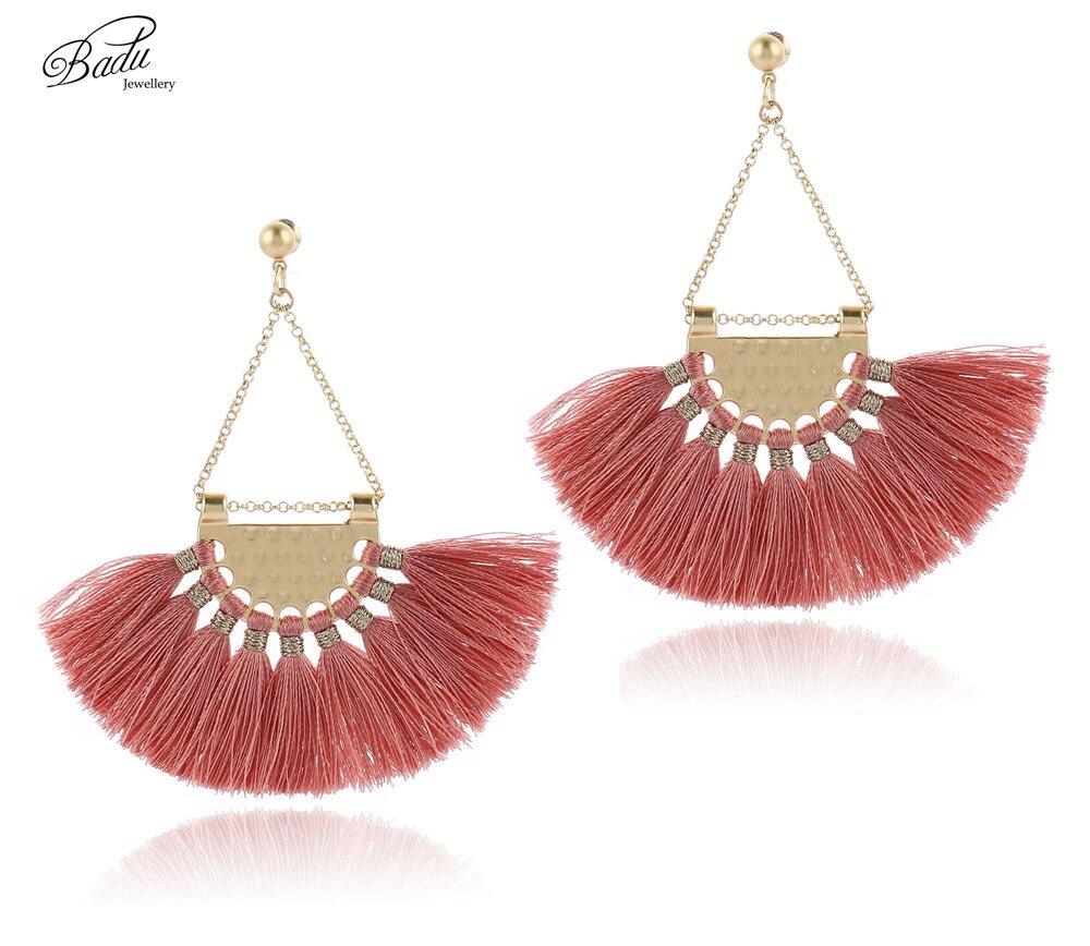Badu Retro Vintage Earring Women Silk Tassel Dangle Drop Earrings Gold Color Triangle Chandelier Pendant Party Jewelry