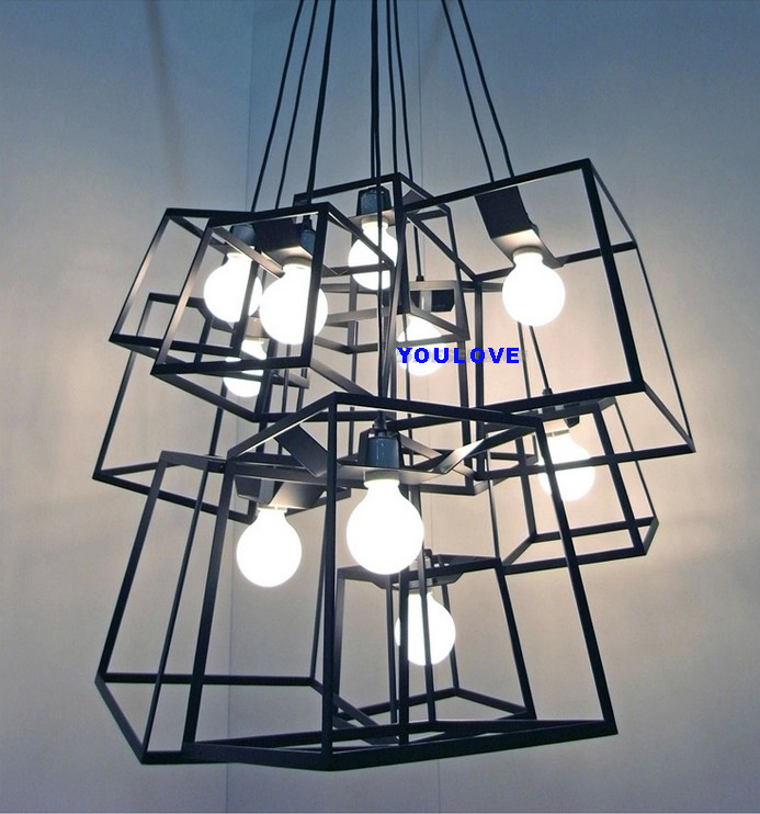Modern Black/Colorful Square Droplight Cabinet Pendant Lights Fixture Restaurant Cafes Home Bed Room Dining Room Pendant Lamps black white modern europe simple creative pendant lights droplight hanglight home bedroom dining room restaurant office