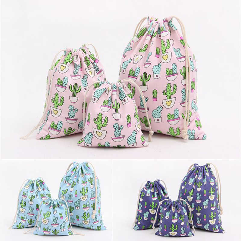 Portable Clothes Socks Shoes Underwear Storage Bag Cotton And Linen Cactus Decor Tote Drawstring Bag Travel Makeup Organizers