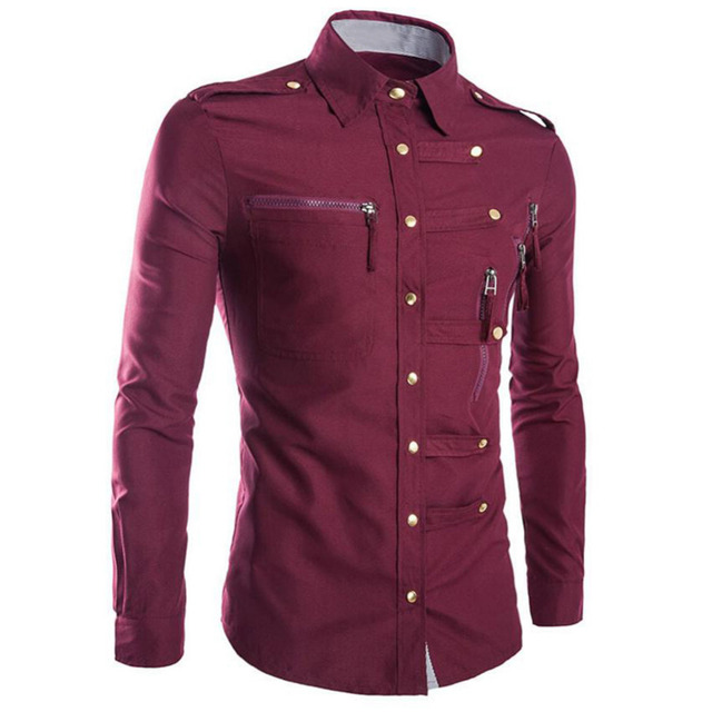 Liva girl 2016 nuevo algodón de los hombres camisa casual camisa de manga larga slim fit, armygreen negro rojo camisetas para los hombres tamaño m, l, xl, xxl