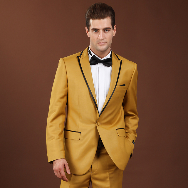 Gold Suit Mens Slim Fit Suits With Pants Nightclub DJ Male Singers Prom Men Suits Smoking Wedding Luxo Brand Clothing Terno Q72
