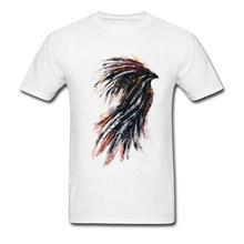 цена на Water Painting Ink Phoenix Top T-shirts Custom Short Sleeve 2018 Fashion Crew Neck 100% Cotton Fabric Tops Shirt Hipster Tees