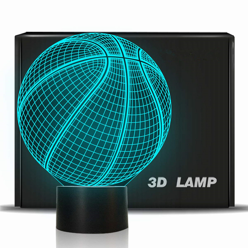 2019 FIBA Basketball World Cup 3D Illusion Basketball Gift Glowing Table Desk Decor 7 Color Touch Switch Toy For Fans Home Decor