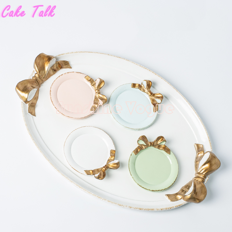 Bowknot Cake Tray Dessert Dish Plate Colorful Tray Set Vintage Italy Style Bakeware Candy Bar Decoration Cupcake Tea Tray