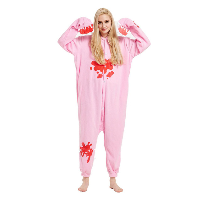 Funny Pink Red Blotches Kigurumi Animal Character Adult Bear Onesies Pajamas  For Women Halloween Cosplay Footed Pyjamas ad2709d32a525