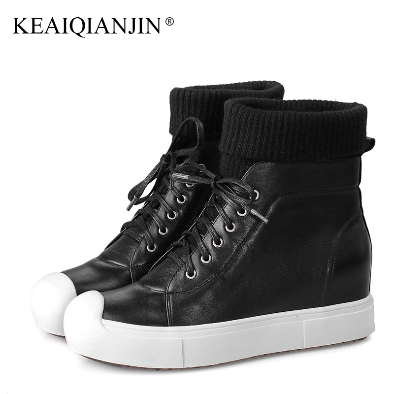 KEAIQIANJIN Woman Martin Boots Autumn Winter Black Lace Up Sock Boots Genuine Leather Flat Shoes Platform Ankle Boots 2017 odetina fashion genuine leather ankle boots flat woman round toe platform lace up boots autumn winter casual shoes big size 43