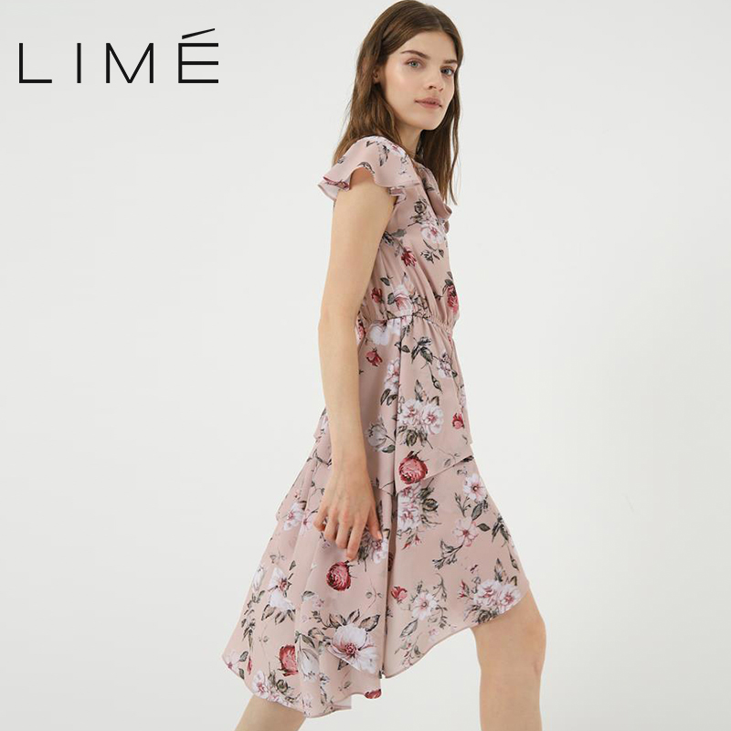Dress with floral print LIME woman 400|2144|975
