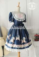 Sweet Whirligig Fairy Tale Print Blue OP Lolita Dress