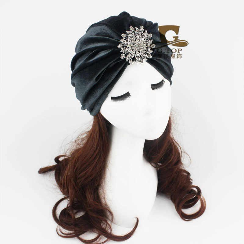 250e0df2ef4 ... Velvet Flapper jeweled brooch Stretch Full Turban Headband Great Gatsby  Ear Warmer Hat VT-21 ...