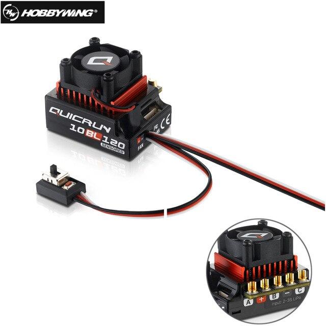 Оригинальный HOBBYWING QUICRUN 10BL120 Sensored 120A 2 3 S Lipo регулятор скорости бесщеточный ESC для 1/10 1/12 RC автомобиля