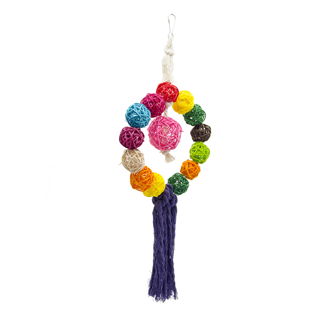 Nontoxic Colorful Durable Creative Rattan Ball Hanging Swing Chew Toys Bird Toys Parrot Toy Climbing Toys hippopotamus animal series many chew toy