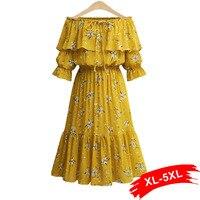 Plus Size Ruffle Off Shoulder Summer Dress 4XL 5XL Women Sash Elastic Waist Flower Print Boho