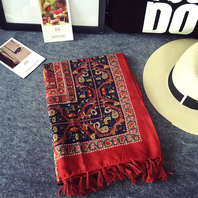 90efd277b7f Nepal Ethnic Style Brand Blanket Neck Tassel Cotton Scarf Shawl for ...