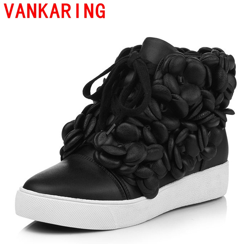 ФОТО VANKARING shoes 2017 European and American winter new round toe tie with handmade flower decoration elegant fashion women boots