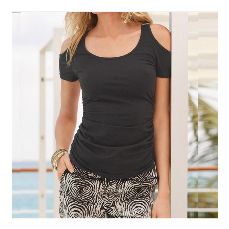 2018 Women Black Gray Red White Casual Short Sleeve Sexy Fashion Off Shoulder T Shirts Solid Color S-2XL Female Top Tees TShirt