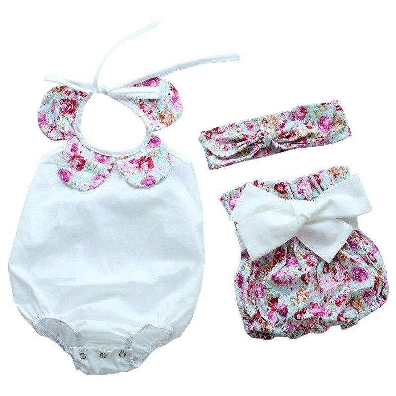 3 шт. для маленьких девочек Цветочный принт ползунки боди + Шорты для женщин комплект женский пляжный костюм, белый,