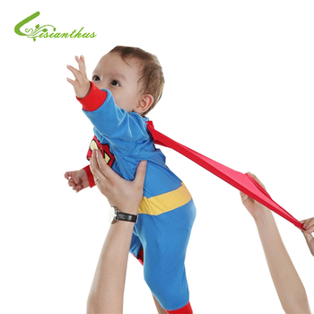 Baby Boy Romper Superman Long Sleeve with Smock Halloween Christmas Costume Gift Boys Rompers Spring Autumn Clothing Free Ship 1