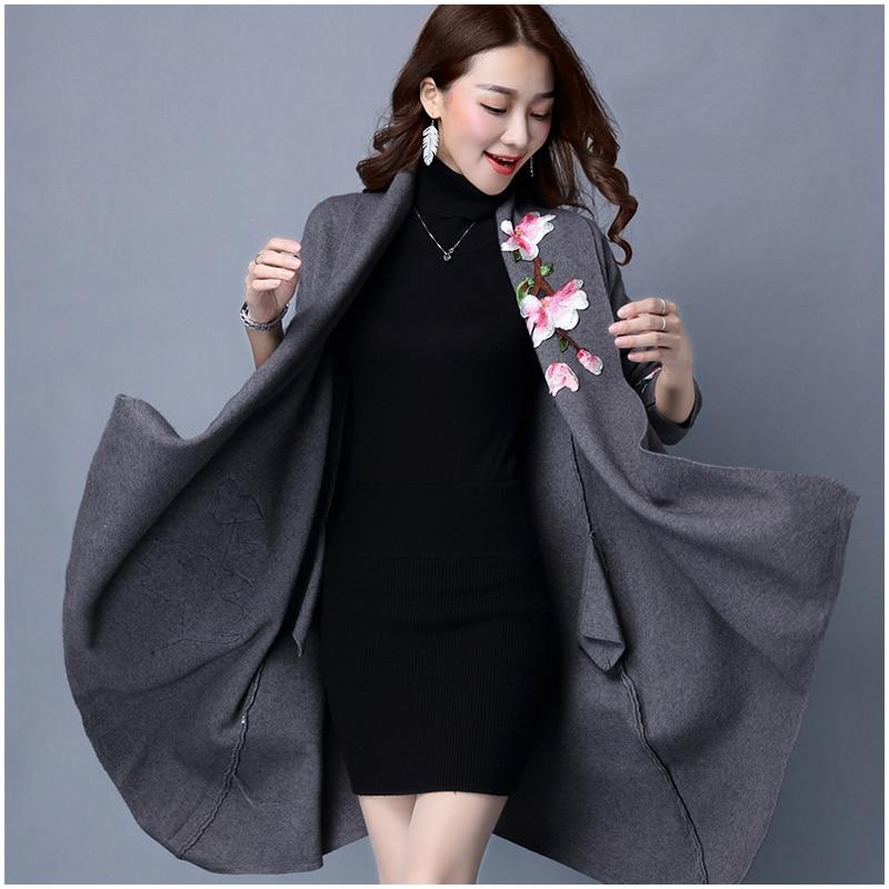 Элегантный кардиган, свитер, плащ, пальто для женщин, Цветочная вышивка, кимоно, Осень-зима, длинное женское пальто, длинный рукав, Тренч