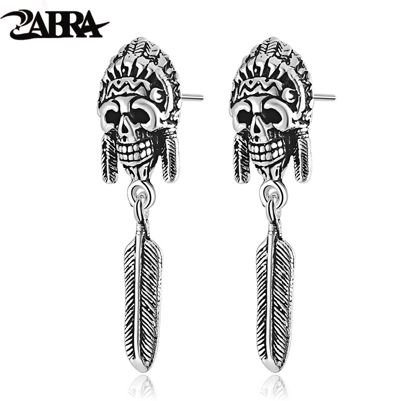 ZABRA 925 Sterling Silver Earrings For Men Indian Vintage Punk Skull Long Stud Silver Mens Earrings Fashion Jewelry 2017