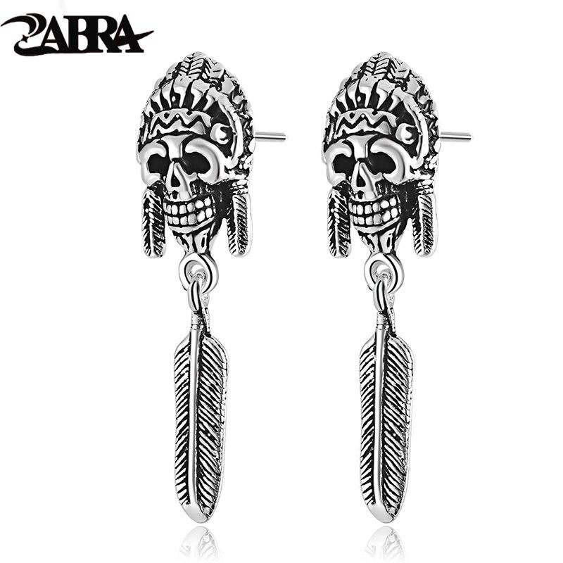ZABRA 925 Sterling Silver Earrings For Men Indian Vintage Punk Skull Long Stud Silver Mens Earrings Fashion Jewelry 2017
