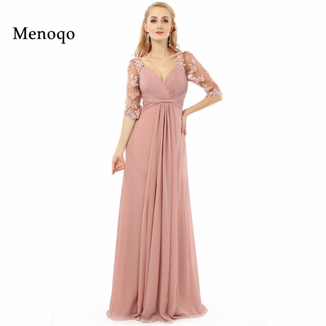 Eine linie Halbe sleeve Applique Chiffon Lang Elegante Abendkleider ...