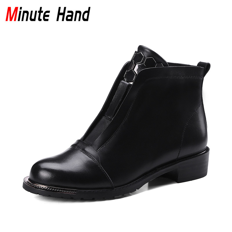 Minute Hand Fashion Woman Genuine Leather Ankle Boots Low Chunky Heel Casual Shoes Round Toe Slip on Booties Metal Decoration beango fashion metal toe rivets women boots lace up round toe low heel motorcycle booties casual shoes woman big size 34 43eu