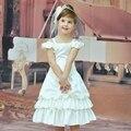 Fábrica Barato Al Por Mayor Vestido de Satén Púrpura Blanco Patchwork Niño Del Desfile Del Vestido de Niña de las Flores Vestidos Para Bodas Con Flores BC01