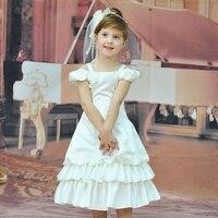 Fabryka Hurtowych Tanie Sukienka Satyna Fioletowy Biały Dziewczyna Kwiat Sukienki Na Wesela Patchwork Dziecko Korowód Suknia Z Kwiatami BC01