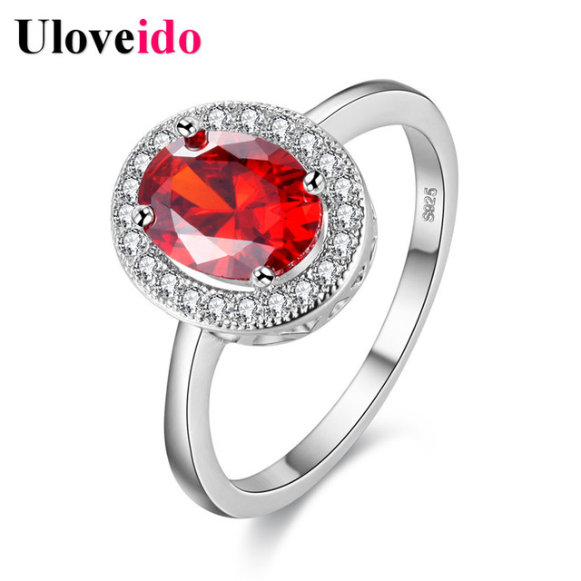 Uloveido Silver Wedding Decorations Womens Rings Anillos Finger