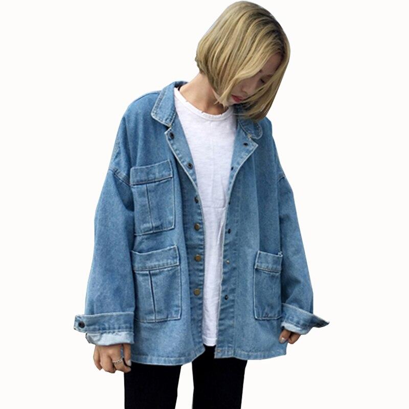 2018 spring Autumn Women Denim Jacket Coat Vintage Loose Outwear Long Sleeve Female Ripped Jeans Jacket 3 pockets tops QH1193