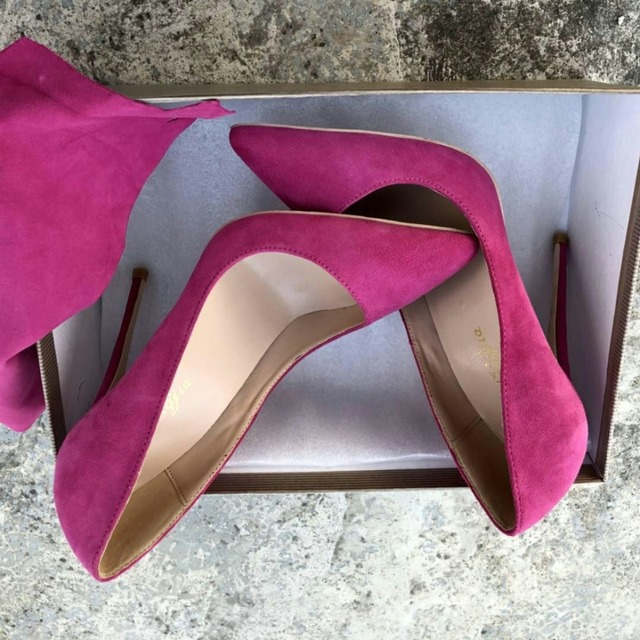 Keshangjia Top Quality Woman Hot Pink High Heel Slip-on Wedding Shoes Pointed Toe Evening Party stilettos Heel Pump 2