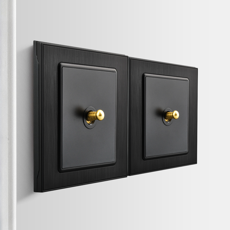 Jiutuo Black Brass Lever Wall Switch Panel,Retro Style Light Switch 86*86mm 10A 16A 250V 1/2/3/4 Gang 1/2 Way