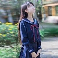 2018 novos uniformes escolares japonês coreano menina bonito do marinheiro tops saia conjunto completo traje cosplay algodão jk