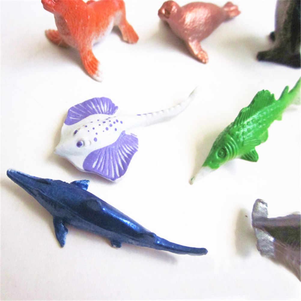 8 pçs/set Vida Marinha Conjunto de Animais Do Mar Tubarão Baleia dos desenhos animados Polvo Caranguejo Tartaruga Golfinho Pinguim Presente Das Crianças Modelo Brinquedos