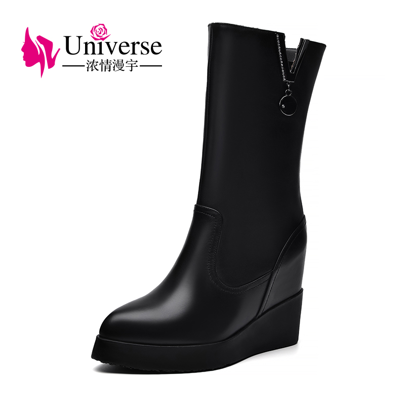 Universe wedge heel mid-calf boots platform women warm plush genuine leather black heels ladies winter boots women shoes C340 2017 black women boots sheepskin winter warm plush female boots mid calf genuine leather women shoes