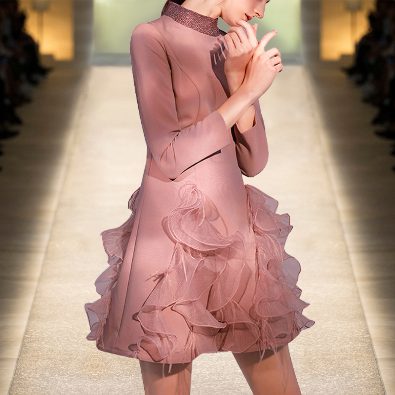 See Orange Charming Rouge Pink Spring Summer Dress With Feather Organza Ruffles Wrap Dress Women Boho Dress SO4444