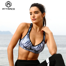 Attraco Women Sports Bra Med Impact Support Backcross Yoga Running Workout Underwear Fitness Top