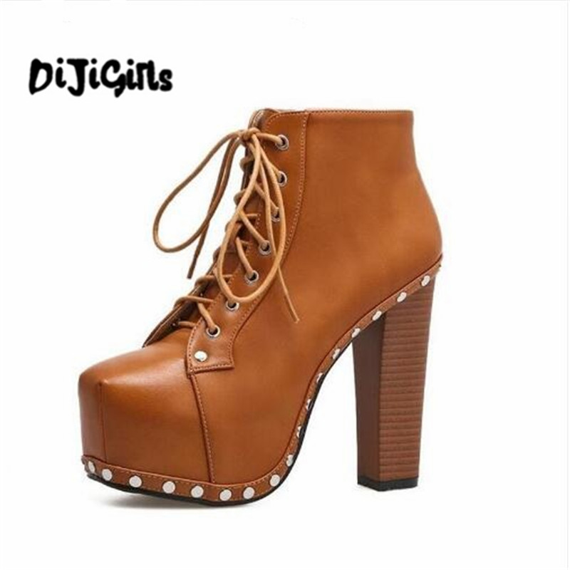 New Women Ankle Boots Ultra High Heel Punk Boots Rivet Platform Booties Lace Up Shoes Woman Motorcycle boots Plus Size new 2016 brand platform high heel single shoes vintage women motorcycle boots martin boots size 35 39 free shipping 367