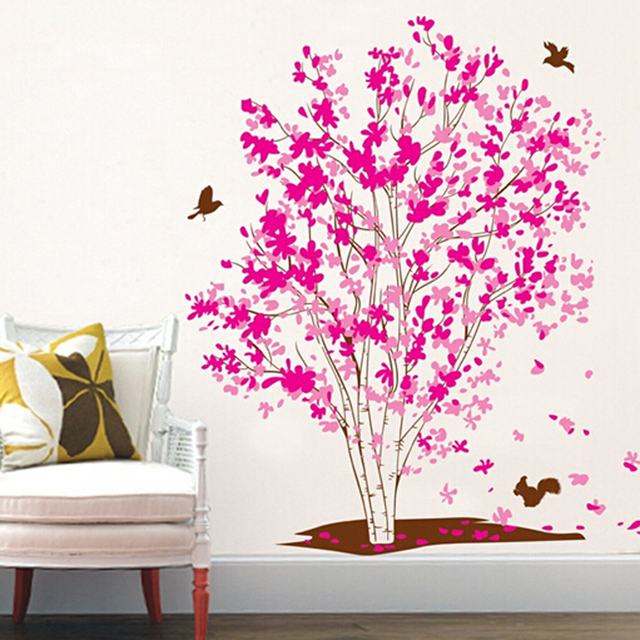 Home Decor Pink Wall Sticker Tree Removable Family Tree Wall Decal Adhesive  Wall Pictures For Living