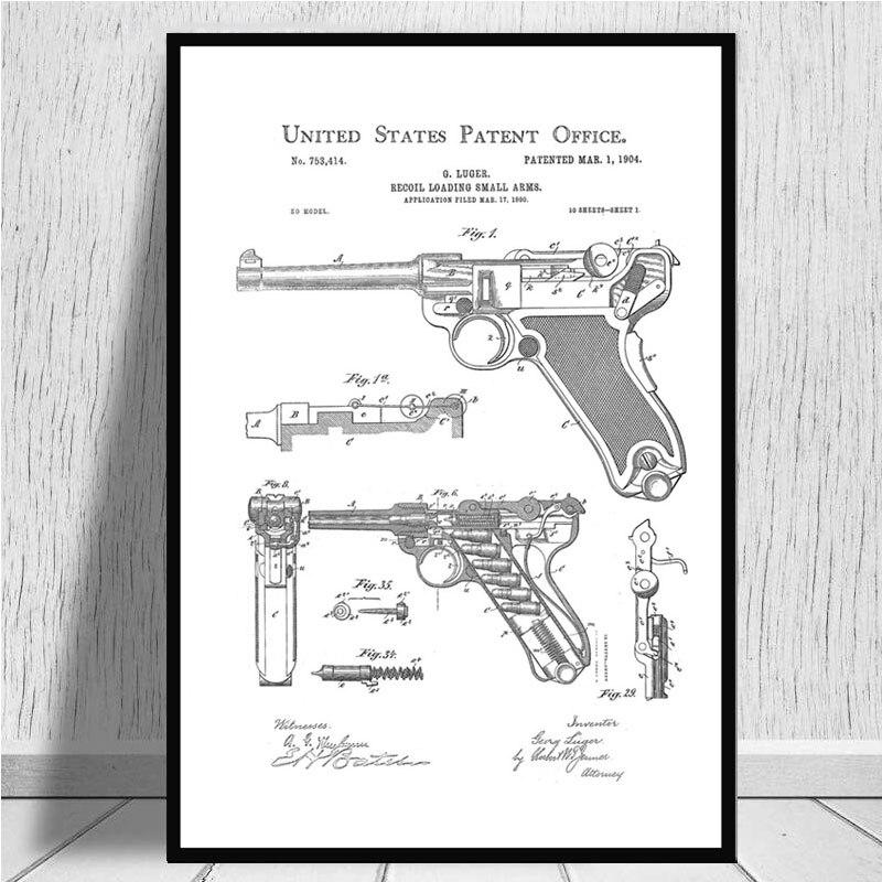 Постер и принты Luger Pistol патентная схема пистолета Современная живопись художественная живопись настенные картины для гостиной домашний декор - Цвет: Зеленый