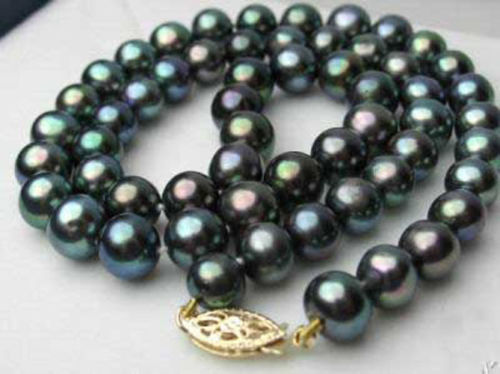 AA++ 10 11 MM REAL BLACK South Sea PEARL NECKLACE CLASP ^^^@^Noble style FREE SHIPPING>Natural Fine jewe &